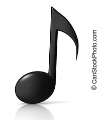 music note 3d icon - music note 3d icon on white background...