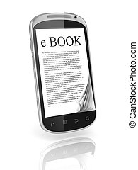 e-book 3d concept - book instead of display on the touch...
