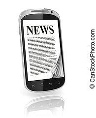 leitura, notícia, toque, tela, telefone
