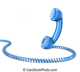 Telephone handset on white