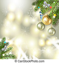 Christmas balls and pine tree - Christmas background with...