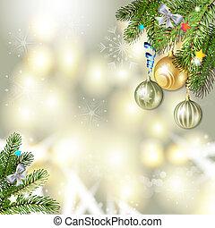 Christmas balls and pine tree - Christmas background with...