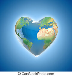 love planet 3d concept - heart shaped earth isolated on...
