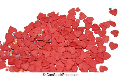 pink confectionery sprinkling in the form of hearts