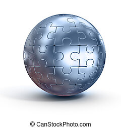 spherical jigsaw - 3d illustration of spherical jigsaw