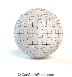 spherical puzzle - 3d illustration of spherical puzzle