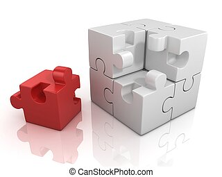 cubical puzzle with one red piece - cubical puzzle with one...