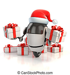 robot santa with gift box