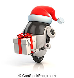 funny robot with santa's hat