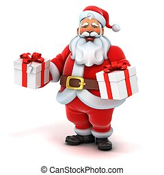 santa claus holding gift box - 3d illustration of santa...