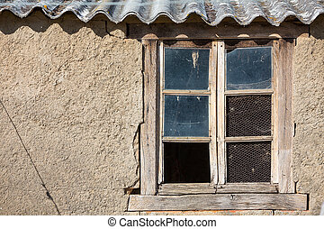vintage window - closeup view of broken glass and vintage...