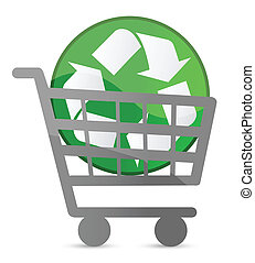 shopping card and recycle sign illustration design