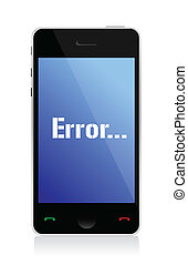 error message on phone illustration design over a white...