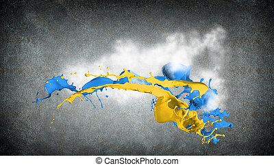 colored splashes - Colored paint splashes isolated on grey...