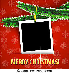 Merry Christmas greeting card with blank photo frame hanging...