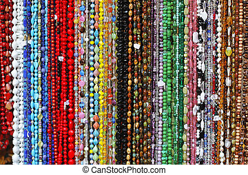 Necklaces - Bunch of long necklaces with colorful beads
