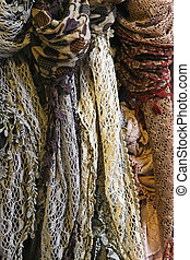 Wool shawl - Hand made woven wool scarves in earth colors