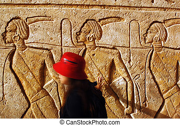 Abu Simbel Temples - ABU SIMBLE - APRIL 29: Visitor at the...