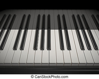 white and black keys of the piano - 3d white and black keys...