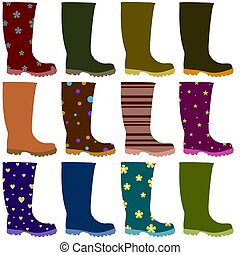 Wellies - Illustration of 12 boots