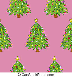 Seamless Decorated Trees - A seamless pattern of decorated...