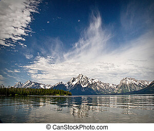 Jackson Lake Reflection of Tetons - Beautiful sky and Teton...