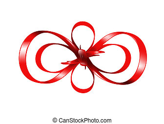 red bow isolated on white background - bright picture of red...