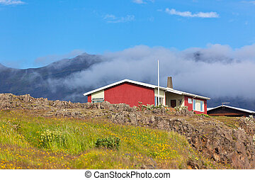 Red Small House in East Iceland
