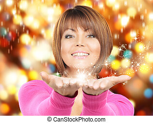 magic on the palms - beautiful woman with magic on the palms...