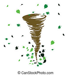 wind blowing leaves illustration vector with white...