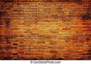 老, grunge, 磚, 牆, 背景