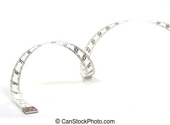 Measuring spiral tape isolated on white background