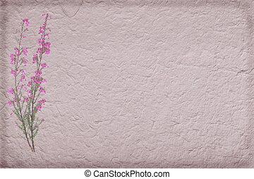 Heather on handmade paper background
