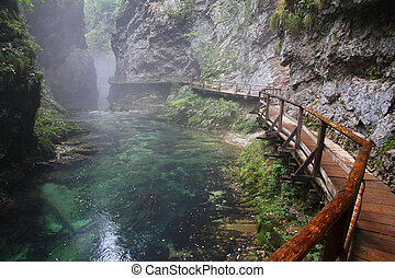 River, Canyon Vintgar, Triglav - Slovenia - River with fog...