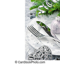 Christmas menu concept in silver tone isolated over white