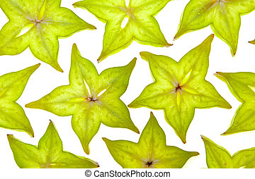 Starfruit (carambola) slices on white background