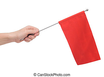Hand holding a red flag isolated on white background Put...