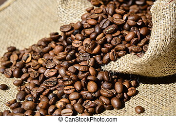 coffee beans in a burlap sack