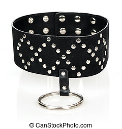 Extra wide leather collar with a metal ring - Extra wide...