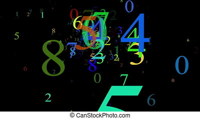 Numbers, isolated on black background, loop