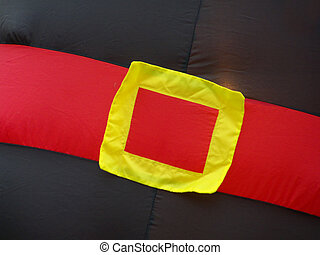 Big Belly - Red belt with yellow buckle on Thanksgiving blow...