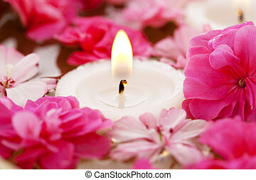 Spa therapy, flowers in water with candles - Image of spa...