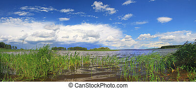 storm cloud over lake