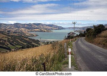 Zealand, sziget,  akaroa, új, déli, kikötő