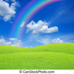 Green field on blue sky with rainbow