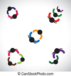 Graphic of kidsboys and girls playing together This colorful...