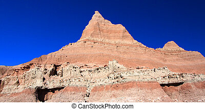 Badlands of South Dakota - Steep ridge in Badlands National...