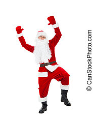 Santa Clause - Santa Claus dancing full length portrait hold...