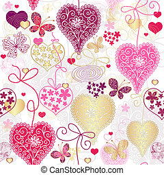 Seamless motley valentine pattern with decorative hearts and...