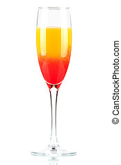 Alcohol cocktail with orange juice and grenadine isolated on...